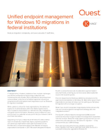 Unified endpoint management for Windows 10 migrations in federal institutions