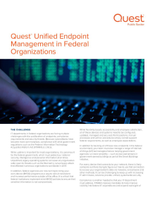 Quest Unified Endpoint Management in Federal Organizations